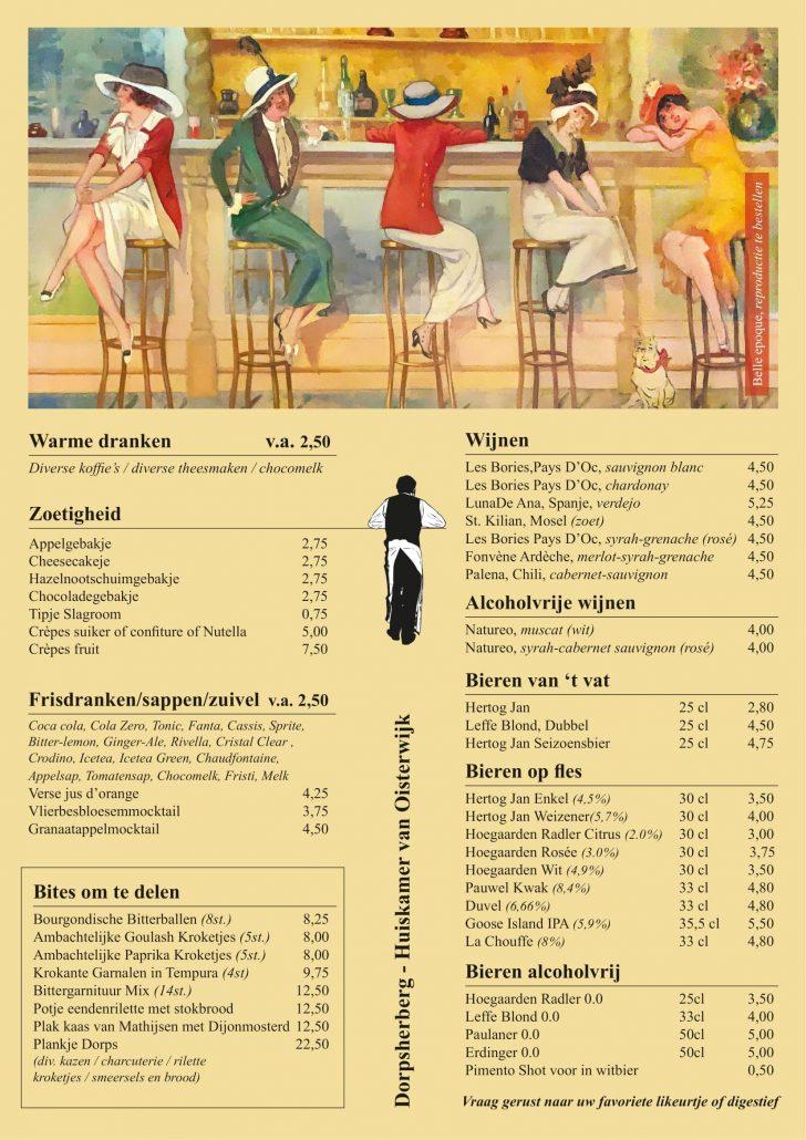 menukaart dorpsherberg